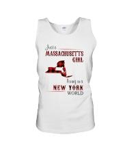 MASSACHUSETTS GIRL LIVING IN NEW YORK WORLD Unisex Tank thumbnail