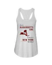 MASSACHUSETTS GIRL LIVING IN NEW YORK WORLD Ladies Flowy Tank thumbnail