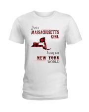 MASSACHUSETTS GIRL LIVING IN NEW YORK WORLD Ladies T-Shirt thumbnail