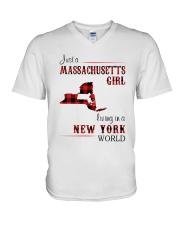 MASSACHUSETTS GIRL LIVING IN NEW YORK WORLD V-Neck T-Shirt thumbnail