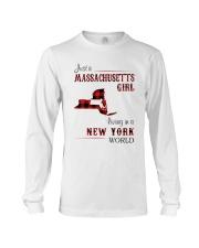 MASSACHUSETTS GIRL LIVING IN NEW YORK WORLD Long Sleeve Tee thumbnail