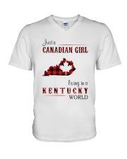 CANADIAN GIRL LIVING IN KENTUCKY WORLD V-Neck T-Shirt thumbnail