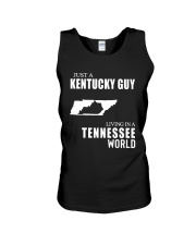 JUST A KENTUCKY GUY LIVING IN TENNESSEE WORLD Unisex Tank thumbnail