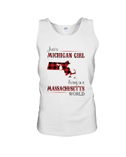 MICHIGAN GIRL LIVING IN MASSACHUSETTS WORLD Unisex Tank thumbnail