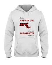 MICHIGAN GIRL LIVING IN MASSACHUSETTS WORLD Hooded Sweatshirt thumbnail