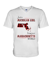 MICHIGAN GIRL LIVING IN MASSACHUSETTS WORLD V-Neck T-Shirt thumbnail