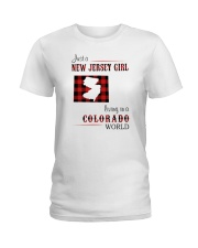 JERSEY GIRL LIVING IN COLORADO WORLD Ladies T-Shirt thumbnail