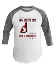 JERSEY GIRL LIVING IN NEW HAMPSHIRE WORLD Baseball Tee thumbnail