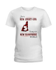 JERSEY GIRL LIVING IN NEW HAMPSHIRE WORLD Ladies T-Shirt thumbnail
