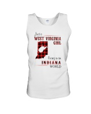 WEST VIRGINIA GIRL LIVING IN INDIANA WORLD Unisex Tank thumbnail