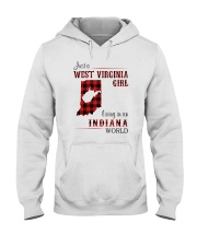 WEST VIRGINIA GIRL LIVING IN INDIANA WORLD Hooded Sweatshirt thumbnail