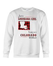 LOUISIANA GIRL LIVING IN COLORADO WORLD Crewneck Sweatshirt thumbnail