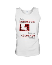 LOUISIANA GIRL LIVING IN COLORADO WORLD Unisex Tank thumbnail