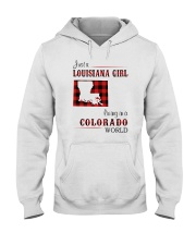 LOUISIANA GIRL LIVING IN COLORADO WORLD Hooded Sweatshirt thumbnail