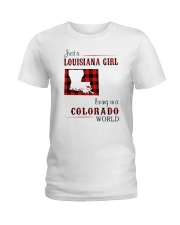 LOUISIANA GIRL LIVING IN COLORADO WORLD Ladies T-Shirt thumbnail