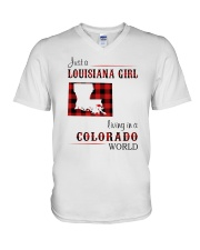 LOUISIANA GIRL LIVING IN COLORADO WORLD V-Neck T-Shirt thumbnail