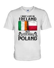 LIVE IN IRELAND BEGAN IN POLAND V-Neck T-Shirt thumbnail