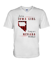 IOWA GIRL LIVING IN NEVADA WORLD V-Neck T-Shirt thumbnail
