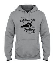 JUST A MICHIGAN GIRL IN A KENTUCKY WORLD Hooded Sweatshirt thumbnail
