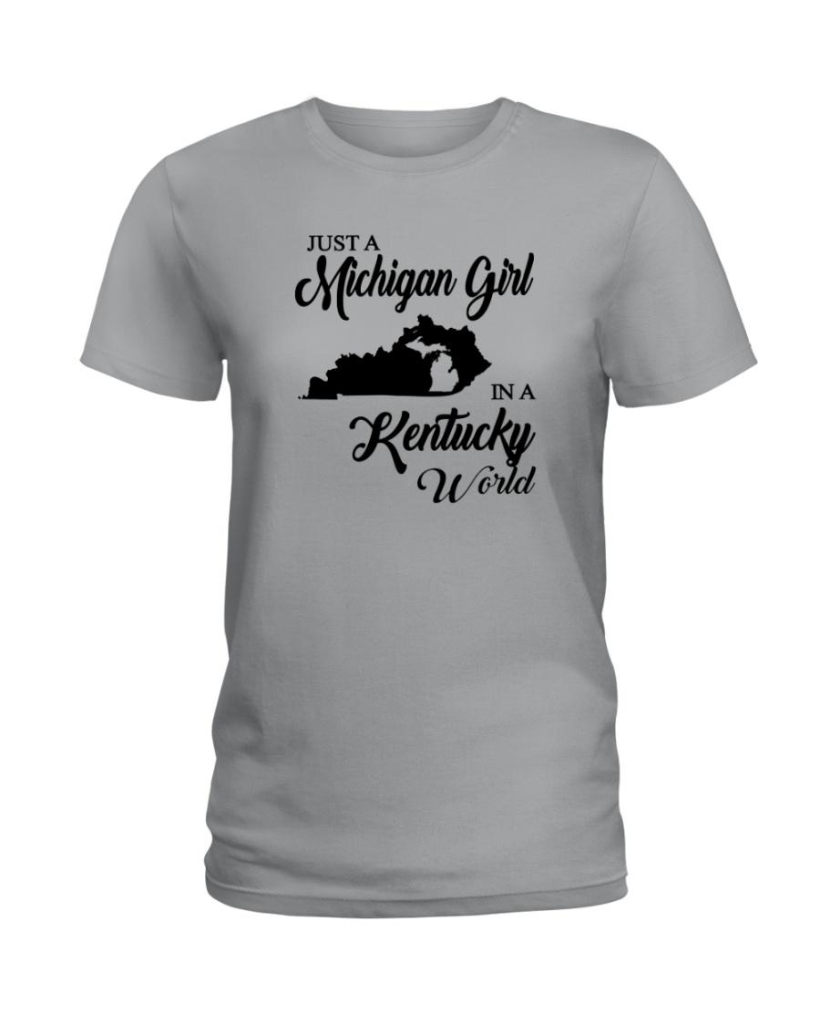 JUST A MICHIGAN GIRL IN A KENTUCKY WORLD Ladies T-Shirt