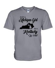 JUST A MICHIGAN GIRL IN A KENTUCKY WORLD V-Neck T-Shirt thumbnail