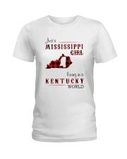 MISSISSIPPI GIRL LIVING IN KENTUCKY WORLD Ladies T-Shirt thumbnail
