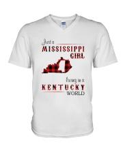 MISSISSIPPI GIRL LIVING IN KENTUCKY WORLD V-Neck T-Shirt thumbnail