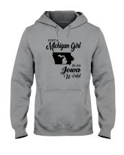 JUST A MICHIGAN GIRL IN AN IOWA WORLD Hooded Sweatshirt thumbnail