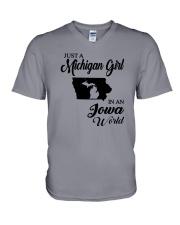 JUST A MICHIGAN GIRL IN AN IOWA WORLD V-Neck T-Shirt thumbnail