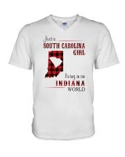 SOUTH CAROLINA GIRL LIVING IN INDIANA WORLD V-Neck T-Shirt thumbnail