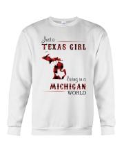 TEXAS GIRL LIVING IN MICHIGAN WORLD Crewneck Sweatshirt thumbnail