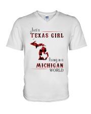 TEXAS GIRL LIVING IN MICHIGAN WORLD V-Neck T-Shirt thumbnail