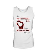 SOUTH CAROLINA GIRL LIVING IN WISCONSIN WORLD Unisex Tank thumbnail