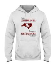 LOUISIANA GIRL LIVING IN NORTH CAROLINA WORLD Hooded Sweatshirt thumbnail