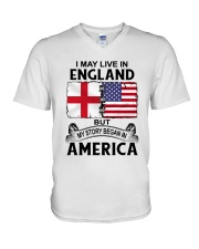 LIVE IN ENGLAND BEGAN IN AMERICA ROOT WOMEN V-Neck T-Shirt thumbnail