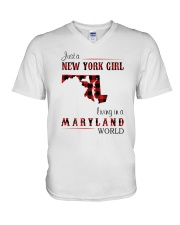 NEW YORK GIRL LIVING IN MARYLAND WORLD V-Neck T-Shirt thumbnail