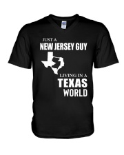 JUST A JERSEY GUY LIVING IN TEXAS WORLD V-Neck T-Shirt thumbnail