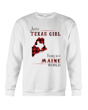 TEXAS GIRL LIVING IN MAINE WORLD Crewneck Sweatshirt thumbnail