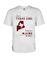 TEXAS GIRL LIVING IN MAINE WORLD V-Neck T-Shirt thumbnail