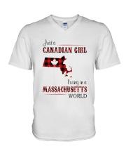 CANADIAN GIRL LIVING IN MASSACHUSETTS WORLD V-Neck T-Shirt thumbnail