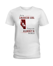AMERICAN GIRL LIVING IN ALBERTA WORLD Ladies T-Shirt tile