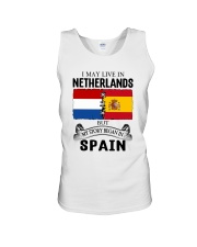 LIVE IN NETHERLANDS BEGAN IN SPAIN ROOT Unisex Tank thumbnail