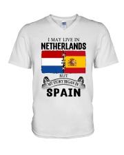 LIVE IN NETHERLANDS BEGAN IN SPAIN ROOT V-Neck T-Shirt thumbnail