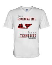 LOUISIANA GIRL LIVING IN TENNESSEE WORLD V-Neck T-Shirt thumbnail