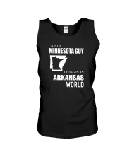 JUST A MINNESOTA GUY LIVING IN ARKANSAS WORLD Unisex Tank thumbnail