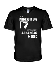 JUST A MINNESOTA GUY LIVING IN ARKANSAS WORLD V-Neck T-Shirt thumbnail