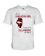 JAMAICAN GIRL LIVING IN ILLINOIS WORLD V-Neck T-Shirt thumbnail
