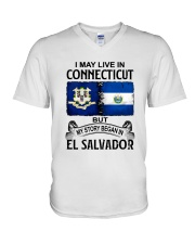 LIVE IN CONNECTICUT BEGAN IN EL SALVADOR V-Neck T-Shirt thumbnail