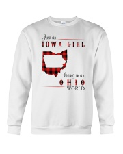 IOWA GIRL LIVING IN OHIO WORLD Crewneck Sweatshirt thumbnail