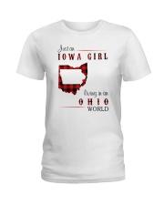 IOWA GIRL LIVING IN OHIO WORLD Ladies T-Shirt thumbnail